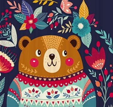 Juneping Badewanne Vorhang 1 STÜCK Cartoon Bear Print Duschvorhang Dark Wasserdicht Polyester Bad Vorhang für Badezimmer (Größe : 180 * 200cm) - 5