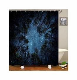 KnSam Duschvorhang Anti-Schimmel Wasserdicht Vorhänge an Badewanne Bad Vorhang für Badezimmer Wald Sternen Himmel 100% PEVA inkl. 12 Duschvorhangringen 90 x 180 cm - 1