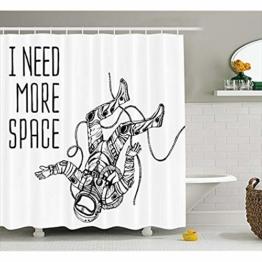 """KYCD Weltraum Dekor Duschvorhang, Lustige Astronaut fällt auf der Erde Welt Apollo Orbit Artsy Grafik, Stoff Badezimmer eingerichtet mit Haken, Schwarz Weiss 72"""" x 80"""" - 1"""