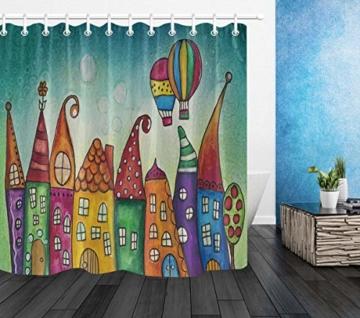 LB Cartoon Duschvorhang Kinderzeichnung Bunte Schloss Gemusterten Polyester Stoff Bad Vorhänge Wasserdicht Anti-Schimmel Bad Dekor Wohnaccessoires mit 12 Vorhang Haken 180x200cm - 2