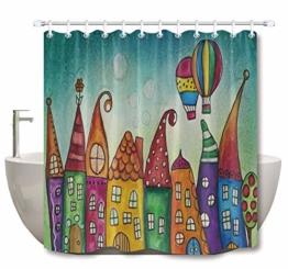 LB Cartoon Duschvorhang Kinderzeichnung Bunte Schloss Gemusterten Polyester Stoff Bad Vorhänge Wasserdicht Anti-Schimmel Bad Dekor Wohnaccessoires mit 12 Vorhang Haken 180x200cm - 1