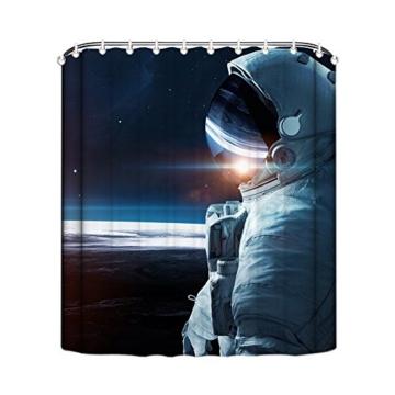 MangGou Weltraum Duschvorhang Astronauten Badvorhang Badezimmer Vorhänge Dekorativer Duschvorhang Liner mit Haken Polyester Wasserdicht Anti-Schimmel Maschinenwaschbar auf dem Mond Universum 90x180cm -