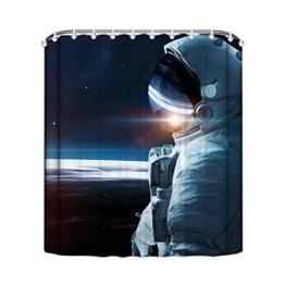 MangGou Weltraum Duschvorhang Astronauten Badvorhang Badezimmer Vorhänge Dekorativer Duschvorhang Liner mit Haken Polyester Wasserdicht Anti-Schimmel Maschinenwaschbar auf dem Mond Universum 90x180cm - 1