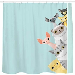 Sunlit Cute Stripe Kurzhaar Peekaboo Cats Cartoon Duschvorhang für Kinder Katzenliebhaber, lustiges kätzchen, Pussy Stoff Badezimmer-Dekorationsset mit Haken, Türkis Aqua Blau, PVC-frei, geruchlos. - 1