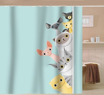 Sunlit Cute Stripe Kurzhaar Peekaboo Cats Cartoon Duschvorhang für Kinder Katzenliebhaber, lustiges kätzchen, Pussy Stoff Badezimmer-Dekorationsset mit Haken, Türkis Aqua Blau, PVC-frei, geruchlos. - 5