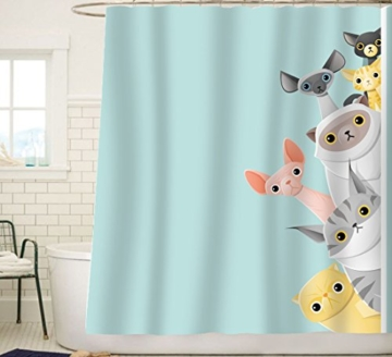 Sunlit Cute Stripe Kurzhaar Peekaboo Cats Cartoon Duschvorhang für Kinder Katzenliebhaber, lustiges kätzchen, Pussy Stoff Badezimmer-Dekorationsset mit Haken, Türkis Aqua Blau, PVC-frei, geruchlos. - 6