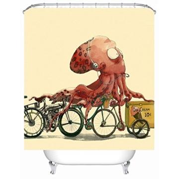 TSJT Duschvorhang, Polyester 3D Digitaldruck Cartoon Octopus Pattern, wasserdicht Mildewproof Antibakterielle Bad Vorhänge, mit12 Kunststoff Haken, Mult Größen , @3 , 170 x 170 cm - 1