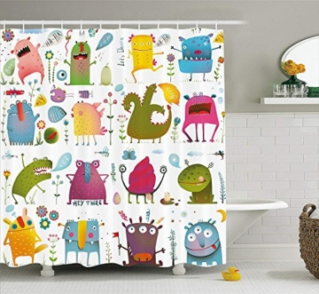 yeuss lustigen Wanddekoration, Motiv Cartoon Monsters Kinder Let 's Dance Groovy Lustige Tiere im Garten Boho-Dekor, Polyester, Stoff Badezimmer Duschvorhang Set mit Haken, mehrfarbig, 60