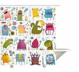 "yeuss lustigen Wanddekoration, Motiv Cartoon Monsters Kinder Let 's Dance Groovy Lustige Tiere im Garten Boho-Dekor, Polyester, Stoff Badezimmer Duschvorhang Set mit Haken, mehrfarbig, 60"" x72, 60""x72""(150cmx180cm) - 1"