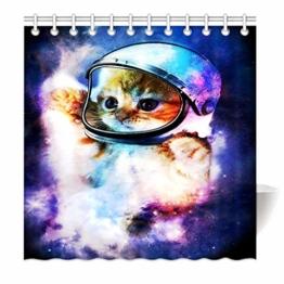 YISUMEI Duschvorhang Hem Gewichte Vorhang 200x180cm Mode Duschvorh?nge,Astronaut Katze im Weltraum lustig,Bunt - 1