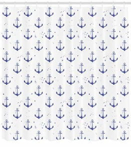 ABAKUHAUS Anker Duschvorhang, Aquarelle Marine-Symbole, Pflegeleichter Stoff mit 12 Haken Wasserdicht Farbfest Bakterie Resistent, 175 x 200 cm, Violett Blau und weiß - 1