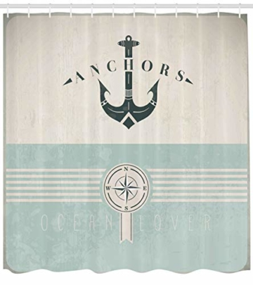 ABAKUHAUS Duschvorhang, Nautische Anker Sailor Meer Richtungen Antiqued Thema aus Stoff Stoff Badezimmer mit Haken, Blickdicht aus Stoff inkl. 12 Ringen Umweltfreundlich Waschbar, 175 X 200 cm - 2