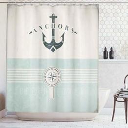 ABAKUHAUS Duschvorhang, Nautische Anker Sailor Meer Richtungen Antiqued Thema aus Stoff Stoff Badezimmer mit Haken, Blickdicht aus Stoff inkl. 12 Ringen Umweltfreundlich Waschbar, 175 X 200 cm - 1