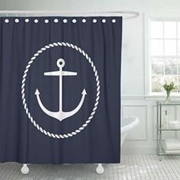 Garry Henry Duschvorhang Anker Emblem Rundseil Yacht Seezeichen Symbol Universal Wasserdichtes Polyestergewebe 72 X 72 Zoll Set Mit Haken - 1