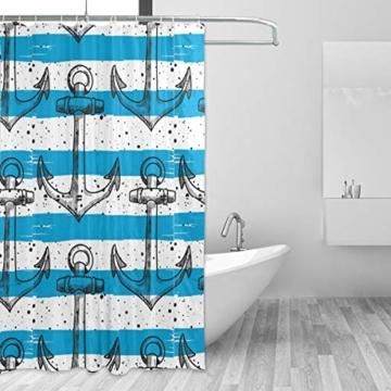 LUPINZ Duschvorhang mit Ankern, blau-weiß gestreift, wasserfest, für Badezimmer, 152,4 x 182,9 cm - 2
