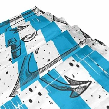 LUPINZ Duschvorhang mit Ankern, blau-weiß gestreift, wasserfest, für Badezimmer, 152,4 x 182,9 cm - 3
