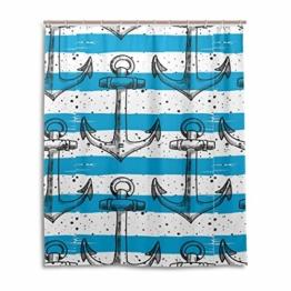 LUPINZ Duschvorhang mit Ankern, blau-weiß gestreift, wasserfest, für Badezimmer, 152,4 x 182,9 cm - 1