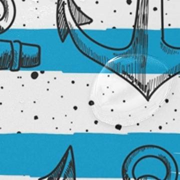 LUPINZ Duschvorhang mit Ankern, blau-weiß gestreift, wasserfest, für Badezimmer, 152,4 x 182,9 cm - 4