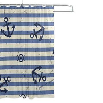 mydaily Vintage Anker blau Stripe Duschvorhang 152,4x 182,9cm, schimmelresistent & Wasserdicht Polyester Dekoration Badezimmer Vorhang - 2