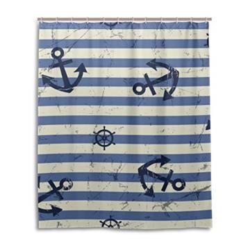 mydaily Vintage Anker blau Stripe Duschvorhang 152,4x 182,9cm, schimmelresistent & Wasserdicht Polyester Dekoration Badezimmer Vorhang - 1