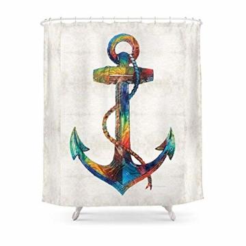 Suminla-Home Badezimmer Maritim Anker Kunst–Leinen los–von Sharon Cummings Duschvorhang 182,9cm von 182,9cm -