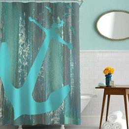 Sylbapestry Anker Duschvorhang Holzbrett Muster Duschvorhänge Bad waschbar Dusche Duschvorhang mit 12 Haken - 1