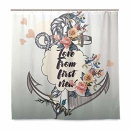 vinlin Maritim Anker Blume wasserdicht Badezimmer Zubehör Vorhang für die Dusche Badewanne Vorhang 182,9x 182,9cm - 1