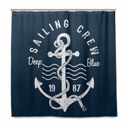 vinlin Ocean Sea Maritim Anker Muster Wasserdicht Badezimmer Zubehör Vorhang für die Dusche Badewanne Vorhang 182,9x 182,9cm - 1