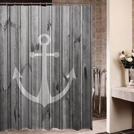 Violetpos Rustikaler grauer Anker Holz Duschvorhang Badezimmer Dekorative 90 x 180 cm - 1