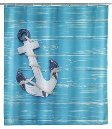 WENKO 23191100 Duschvorhang Aboard, waschbar, wasserabweisend mit 12 Duschvorhangringen, Polyester, 200 x 180 cm, Mehrfarbig -