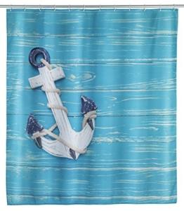 WENKO 23191100 Duschvorhang Aboard, waschbar, wasserabweisend mit 12 Duschvorhangringen, Polyester, 200 x 180 cm, Mehrfarbig - 1