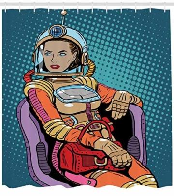 ABAKUHAUS Astronaut Duschvorhang, Raum Lady Purse, Waschbar und Pflegeleicht mit 12 Haken Hochwertiger Druck Farbfest Langhaltig, 175 x 200 cm, Petrol Blau Multicolor -