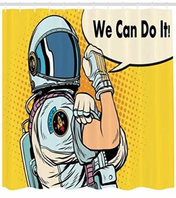 ABAKUHAUS Astronaut Duschvorhang, Wir Können es Raum Tun, Seife Bakterie Schimmel und Wasser Resistent inkl. 12 Haken und Farbfest, 175 x 220 cm, Multicolor -