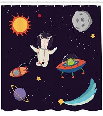 ABAKUHAUS Erkunden Duschvorhang, Astronaut Deer in Space, Klare Farben aus Stoff inkl.12 Haken Farbfest Schimmel und Wasser Resistent, 175 x 200 cm, Multicolor -