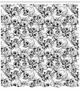 ABAKUHAUS Feier Duschvorhang, Skizzieren Sie Totenkopf, mit 12 Ringe Set Wasserdicht Stielvoll Modern Farbfest und Schimmel Resistent, 175x180 cm, Weiß und Schwarz - 1