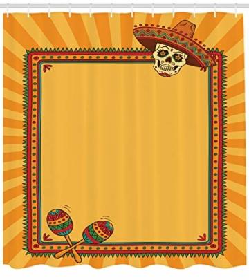 ABAKUHAUS Fiesta Duschvorhang, Rahmen Desgin mit Totenkopf, mit 12 Ringe Set Wasserdicht Stielvoll Modern Farbfest und Schimmel Resistent, 175×200 cm, Ringelblume Grün Rot -