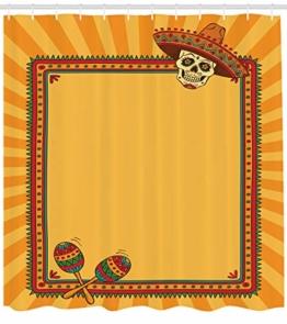ABAKUHAUS Fiesta Duschvorhang, Rahmen Desgin mit Totenkopf, mit 12 Ringe Set Wasserdicht Stielvoll Modern Farbfest und Schimmel Resistent, 175x200 cm, Ringelblume Grün Rot - 1