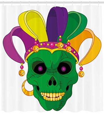 ABAKUHAUS Karneval Duschvorhang, Scary Totenkopf Maske Hut, mit 12 Ringe Set Wasserdicht Stielvoll Modern Farbfest und Schimmel Resistent, 175×200 cm, Mehrfarbig -