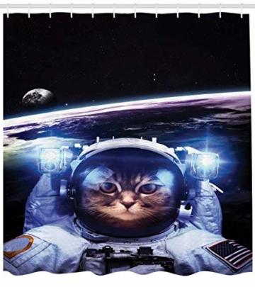 ABAKUHAUS Katze Duschvorhang, Lustige Astronaut Katzen-Stimmung, Trendiger Druck Stoff mit 12 Ringen Farbfest Bakterie und Wasser Abweichent, 175 x 180 cm, Blau Weiß -