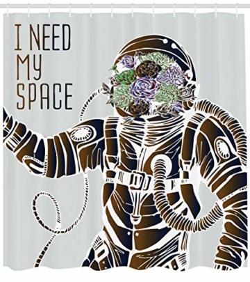 ABAKUHAUS Nebel Duschvorhang, Astronaut Space Outer, mit 12 Ringe Set Wasserdicht Stielvoll Modern Farbfest und Schimmel Resistent, 175×180 cm, Mehrfarbig -