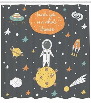 ABAKUHAUS Weltraum Duschvorhang, Doodle Astronaut, Bakterie Schimmel Resistent inkl. 12 Haken Waschbar Stielvoller Digitaldruck, 175 x 200 cm, Multicolor -