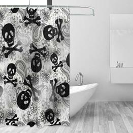 Ahomy Home Decor Duschvorhang mit Totenköpfen und Paisley-Blumen, wasserdicht, schimmelresistent, Stoff, Badezimmer-Dekorationsset mit 12 Haken, 152,4 x 182,9 cm - 1