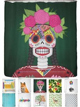 arteneur® - Totenkopf aus Mexiko - Anti-Schimmel Duschvorhang 180x200 - Beschwerter Saum, Blickdicht, Wasserdicht, Waschbar, 12 Ringe & E-Book mit Reinigungs-Tipps - 1