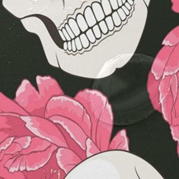 BIGJOKE Duschvorhang, Halloween, Totenkopf, Blumen, schimmelresistent, wasserdicht, Polyester, 12 Haken, 183 x 183 cm, Heimdekoration - 4