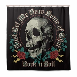BIGJOKE Duschvorhang, Halloween-Totenkopf-Rosen-Zitat, schimmelresistent, wasserdicht, Polyester, 12 Haken, 182,9 x 182,9 cm, Heimdekoration - 1