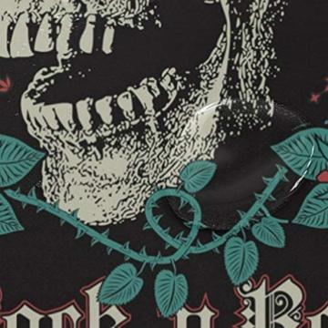 BIGJOKE Duschvorhang, Halloween-Totenkopf-Rosen-Zitat, schimmelresistent, wasserdicht, Polyester, 12 Haken, 182,9 x 182,9 cm, Heimdekoration - 4