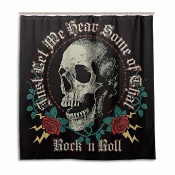 BIGJOKE Duschvorhang, Halloween-Totenkopf-Rosen-Zitat, schimmelresistent, wasserdicht, Polyester, 12 Haken, 167,6 x 182,9 cm, Heimdekoration - 1