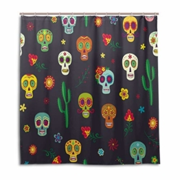 BIGJOKE Duschvorhang, Halloween, Totenkopf, Schimmelresistent, wasserdicht, Polyester, 12 Haken, 167,6 x 182,9 cm, Heimdekoration - 1