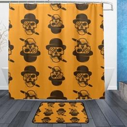 ISAOA Anti-Rutsch-Badezimmerteppich mit Totenkopf-Motiv, 60 x 40 cm, wasserdicht, 183 x 183 cm, waschbarer Duschvorhang mit 12 Haken - 1