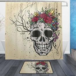 ISAOA Anti-Rutsch-Badezimmerteppich mit Totenkopf und Blumen, 60 x 40 cm, wasserdicht, 183 x 183 cm, waschbarer Duschvorhang mit 12 Haken - 1